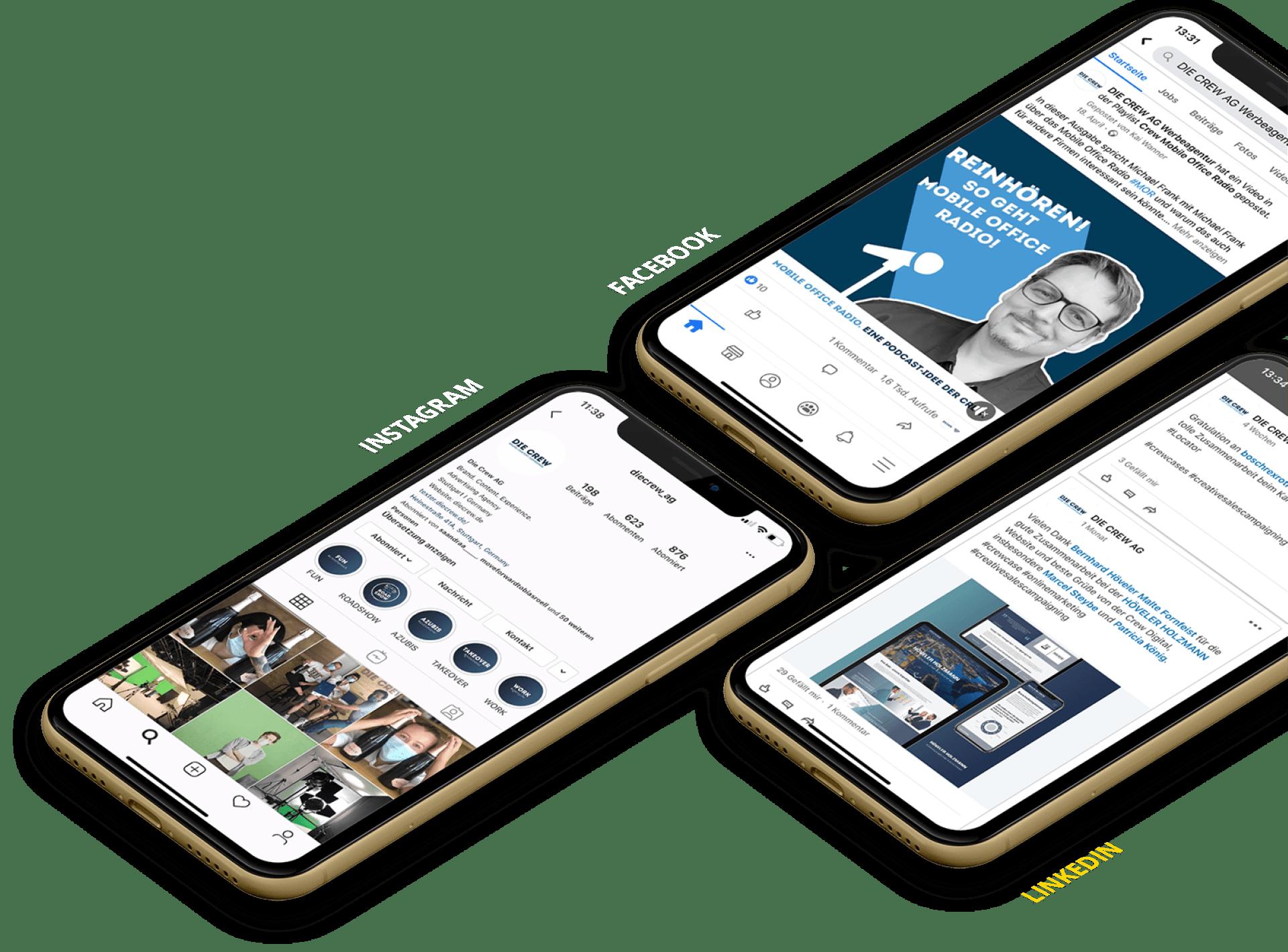 social media kanäle einer marketingagentur